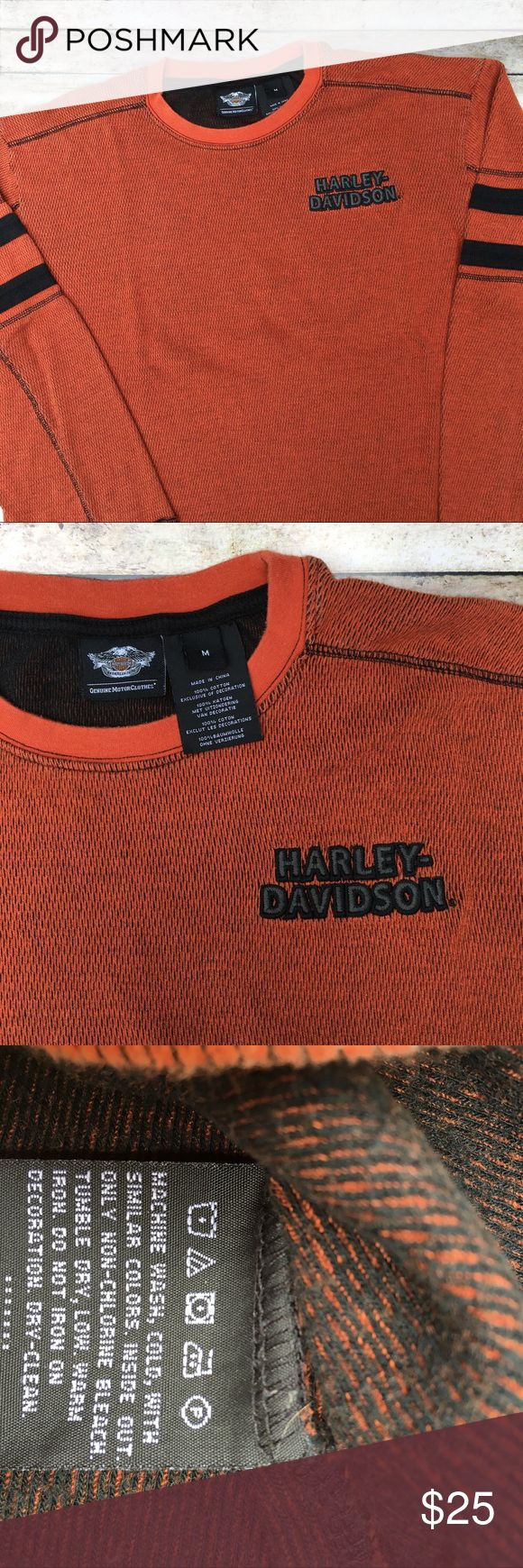 Harley-Davidson Thermal Long Sleeve Top Harley-Davidson Men's Medium Orange & Black Long Sleeve Thermal Crew Neck Shirt with Black Embroidered Harley-Davidson Logo on front, Black Double Stripe detail on sleeves, Gray & Black Distressed HD Logo on Back. Good Used Condition. Harley-Davidson Shirts