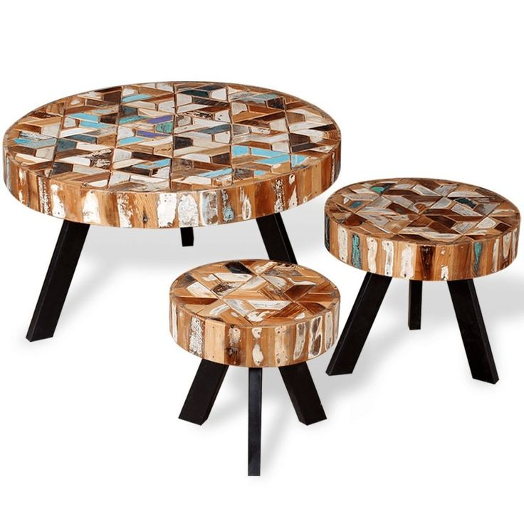Industrial Style Round Coffee Table: Salontafel Set Massief Gerecycled Hout 3-delig In 2019