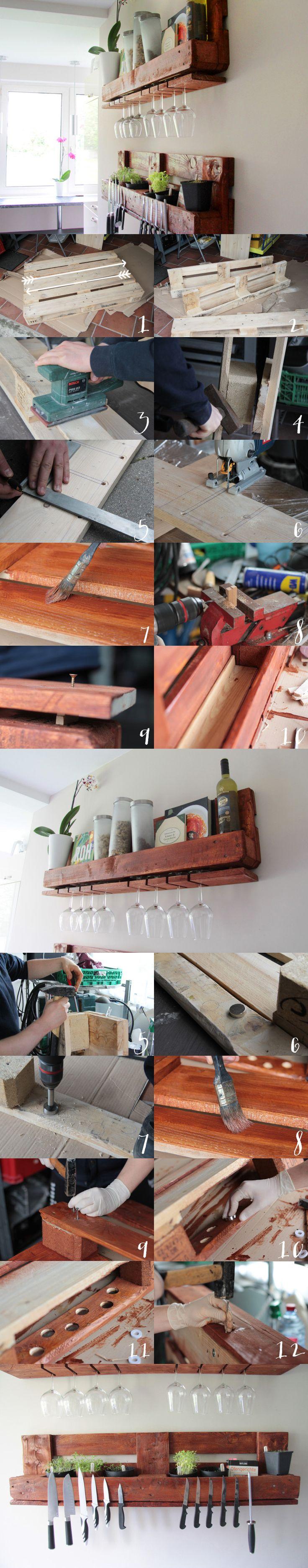 Küchenregal aus einer EURO-Palette für hängende Weingläser und Messer