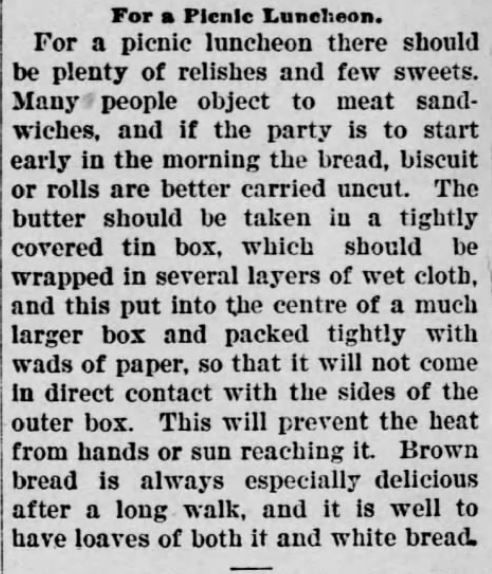 Picnic Luncheon  Part 1 of 2. The Daily Republican. Monongahela, Pennsylvania, September 6, 1900 | A Victorian Picnic Basket…worth $7.50? (And a peek inside Courting Miss Cartwright) | KristinHolt.com