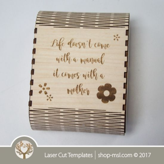 living hinge wooden box template for laser cut and engrave online store free vector