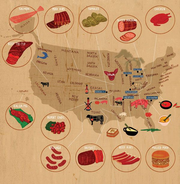 26 best food maps images on pinterest maps cards and food map the united states of barbecue sciox Gallery