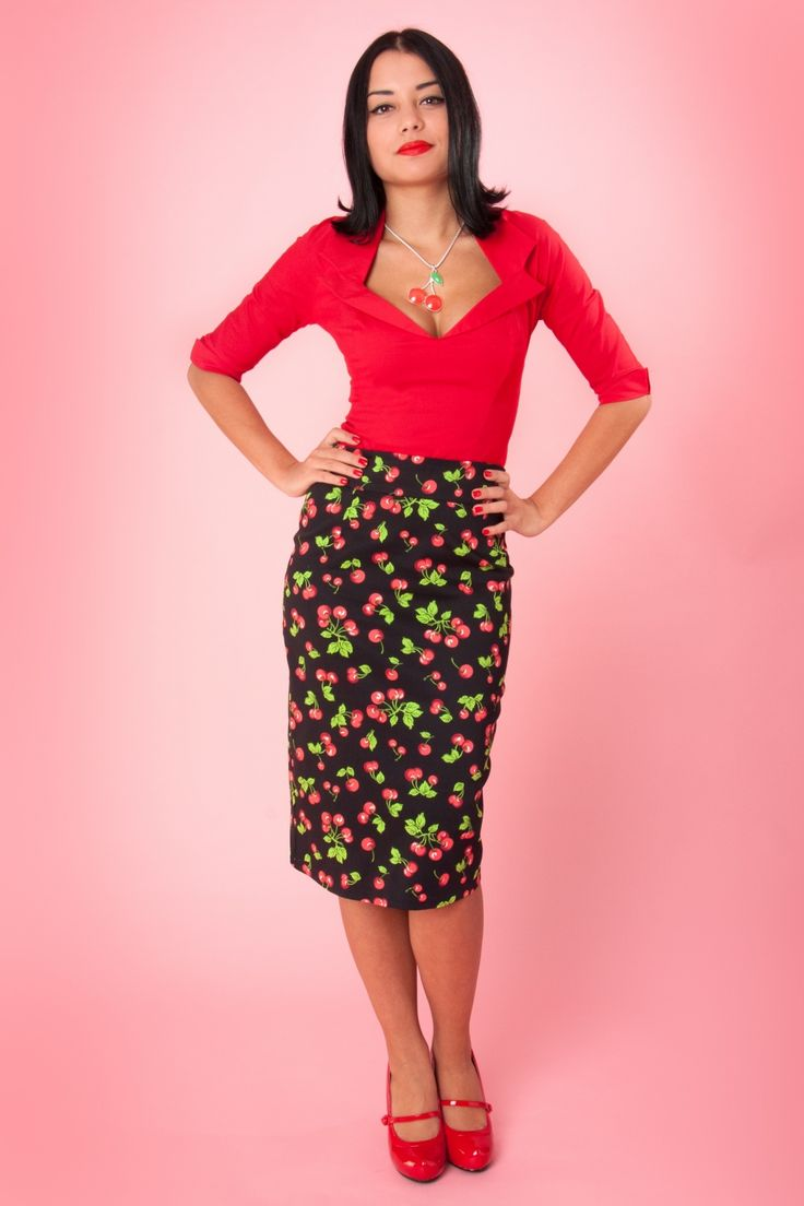 Pinup Couture - Retro Pencil skirt Black Cherry