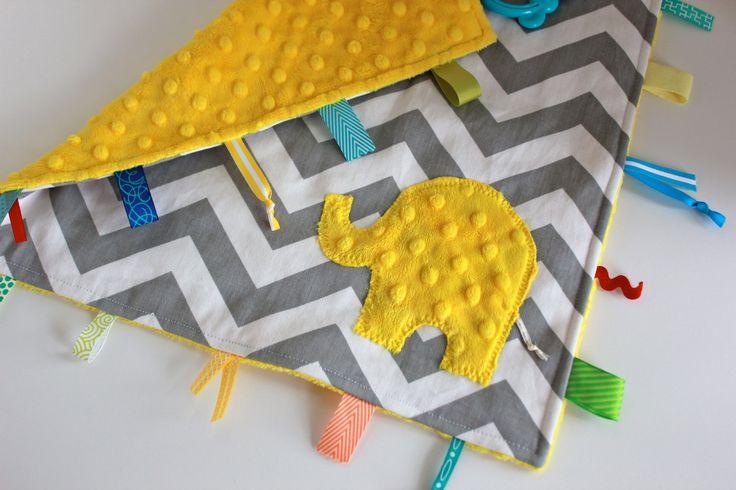 Yellow gray Chevron taggie baby blanket travel sensory lovey - minky elephant or initial. $24.00, via Etsy.
