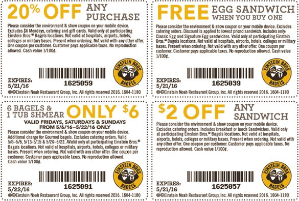 Einstein bagels coupons 2019