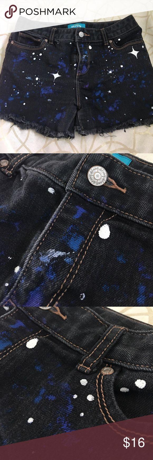 Old Navy custom galaxy shorts Hand painted, distressed galaxy shorts made from old navy skinny jeans Old Navy Bottoms Shorts