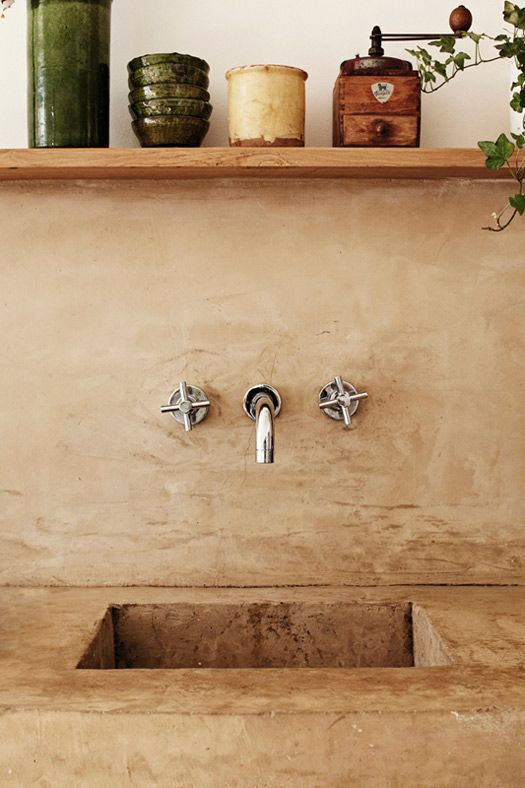 cross handle wall mount: Paris Apartment, Concrete Sink, Mud Rooms, Outdoor Kitchens, Faucets, Outdoor Sinks, Style File, French Kitchens, Kitchens Sinks