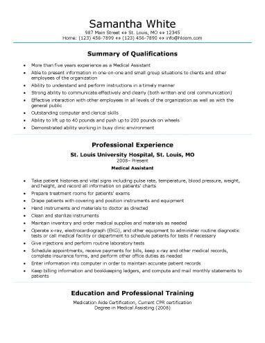 Medical Field | 4-Resume Examples | Pinterest | Sample resume ...