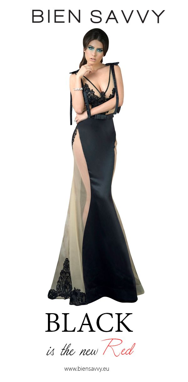 Black is the new Red.  Follow The Moon, black satin evening dress by BIEN SAVVY