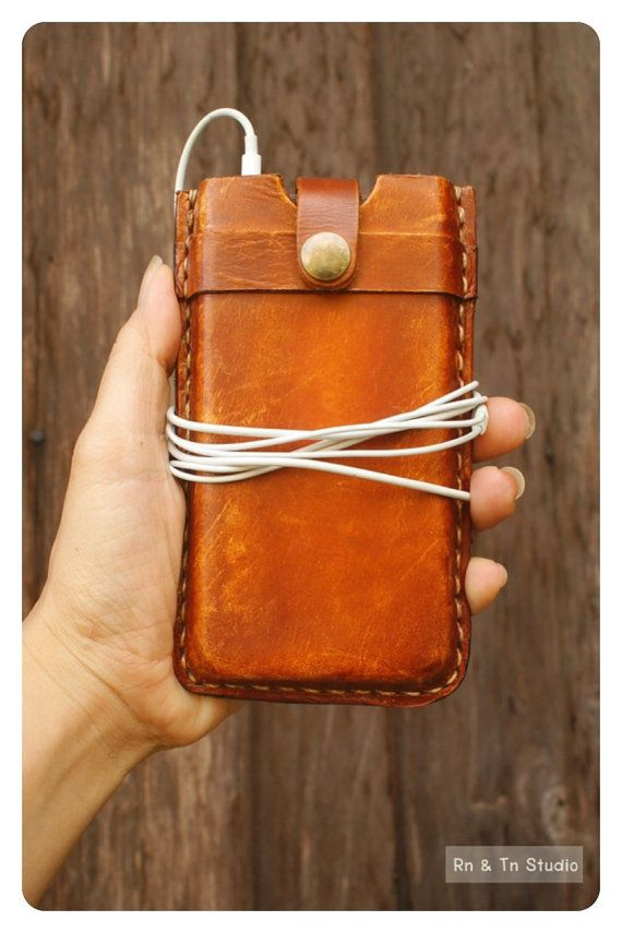 NEW iPhone 5 Leather Case Hand Stitched Leather Sleeve door rntn, $49,00