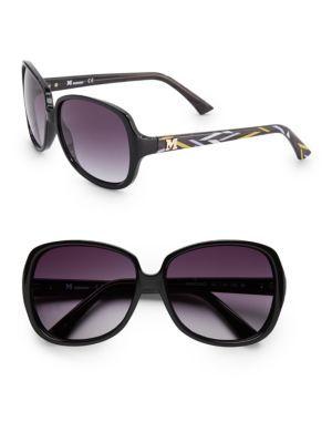 MISSONI Square Black 58MM Printed Temple Sunglasses. #missoni #sunglasses