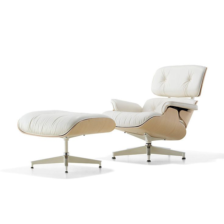 New Eames Lounge Chair - White Ash and Pearl Leather | Herman Miller