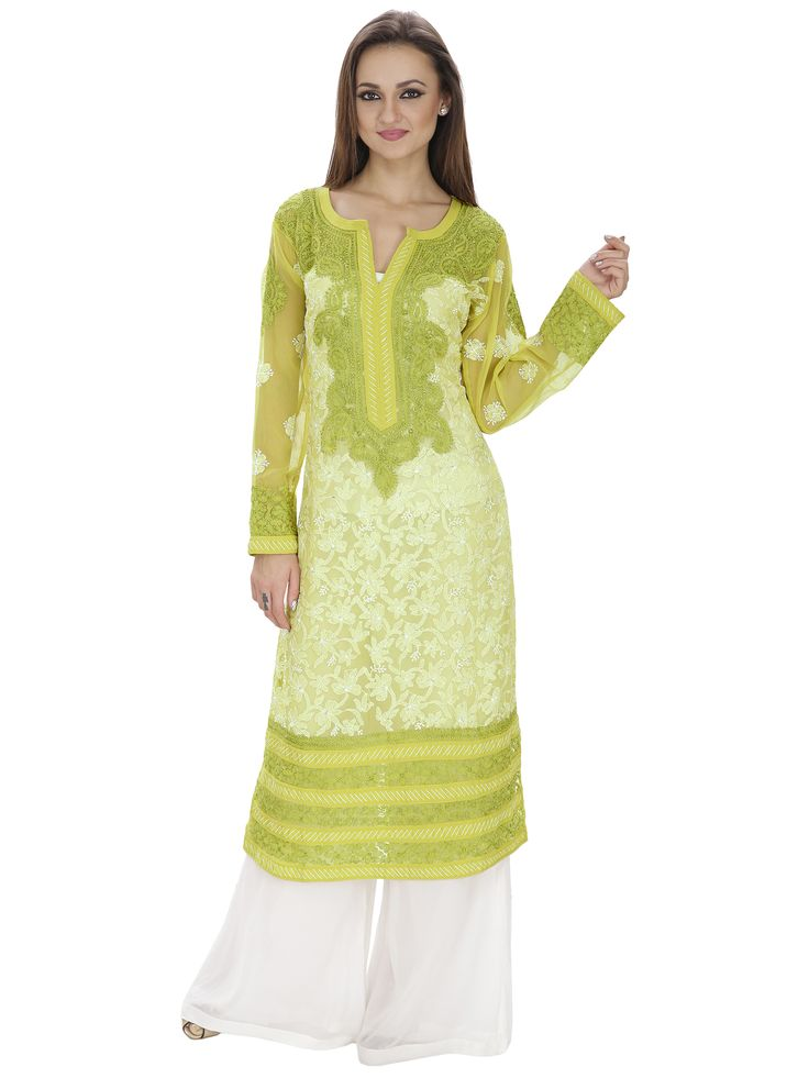 A neckline worth admiring... beautiful chikankari kurta with contrast embroidery on the neck