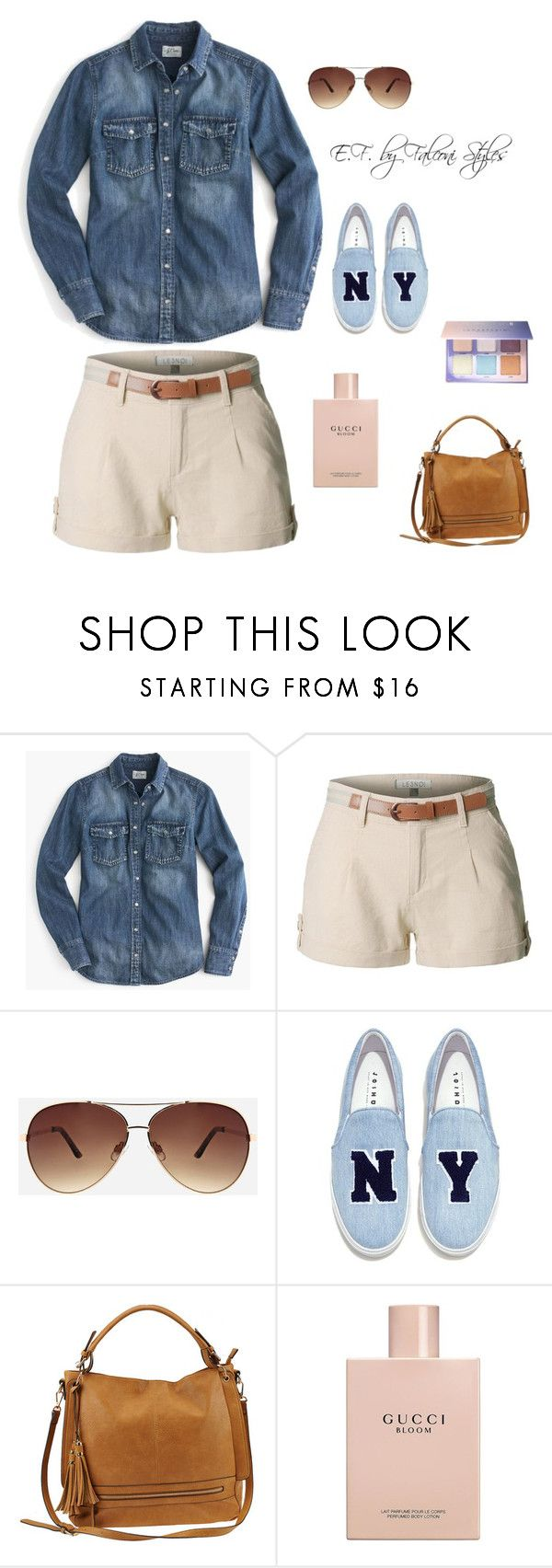 """Untitled #158"" by bellascurvas ❤ liked on Polyvore featuring J.Crew, LE3NO, Ashley Stewart, Joshua's, Urban Expressions, Gucci and Anastasia Beverly Hills"