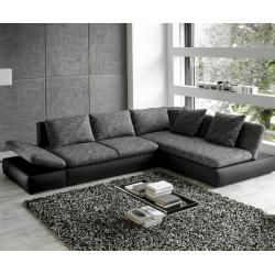 DELIFE Ecksofa Saneta 326x208cm Schwarz Grau mit Bett, Ecksofas