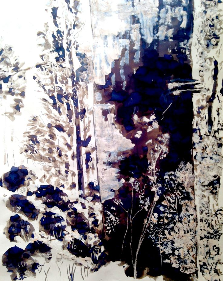 Large scale brush and ink, mixed media drawing, A2 Fine Art, Truro College - Zoe
