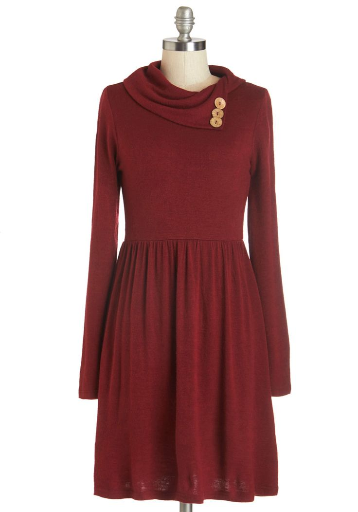 Curator de Force Dress in Ruby. Your encyclopedic knowledge and sophisticated style inspire admiration as you tour the museum in this red sweater dress! #red #modcloth