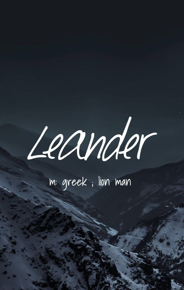 Leander - cool boy name! Pronounced: Lee ann derr