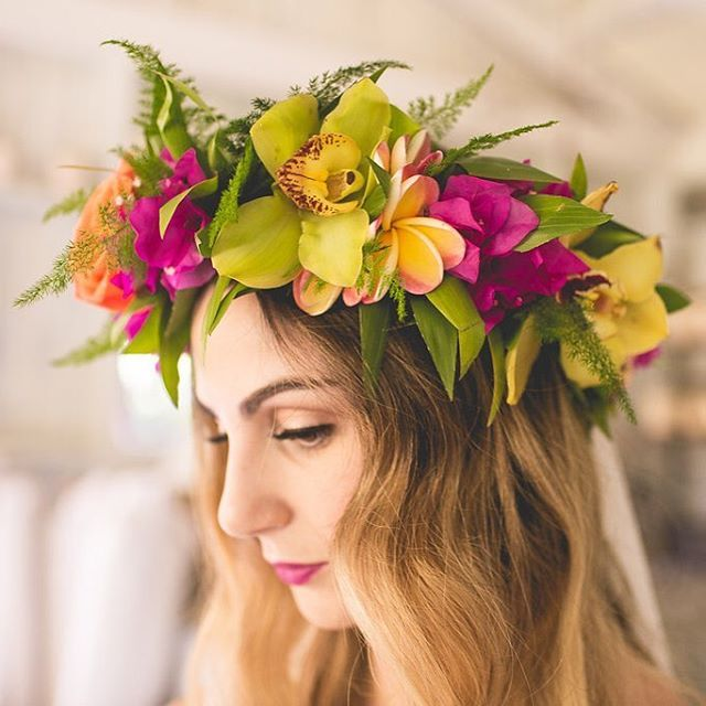 aloha // orchid // ferns // tropical flowers // head lei // Hawaiian wedding hairstyle // flower crown // beautiful inspiration for all of us at Coco Moon Hawaii     #Regram via @ocean_dreamerr
