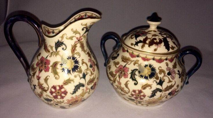 Zsolnay Hungary Pecs Chintz Creamer And Sugar Bowl Exquisite Rare Pattern in Pottery & Glass, Pottery & China, Art Pottery | eBay
