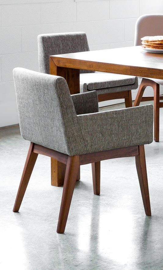 2 X Gray Mid Century Modern Dining Chair In Brown Wood Upholstered