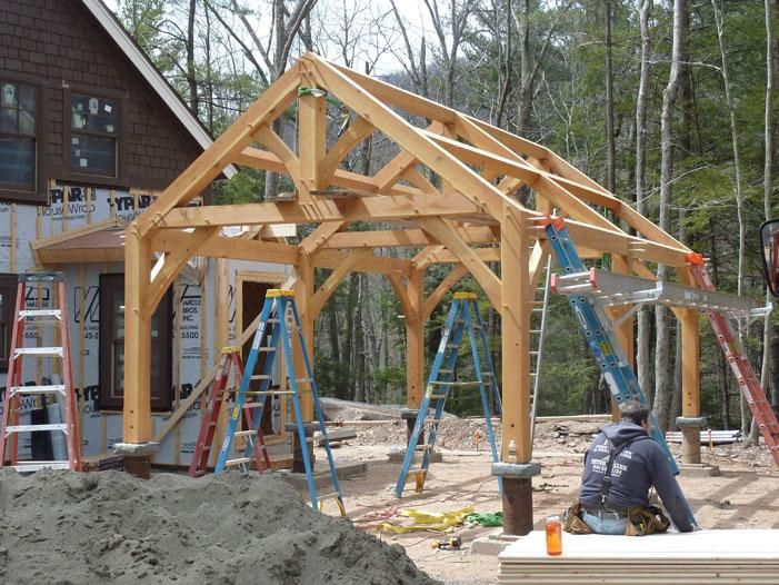 Timber frame shelter plans timber frame carport plans for Post and beam shed plans