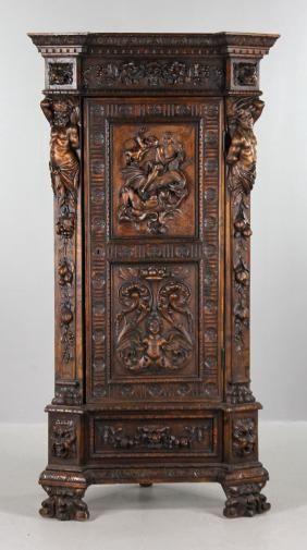 Heavily Carved Italian Corner Cabinet