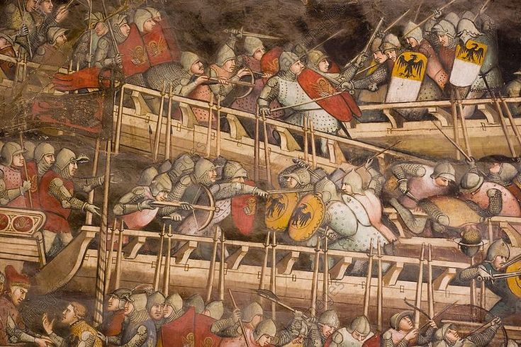 Naval battle. Detail of fresco by Spinello Aretino painted 1407-1408 depicting a naval battle between Venetians and Germans at Punta San Salvatore off the coast of Sicily. Sala di Balia, Palazzo Publicco, Siena.