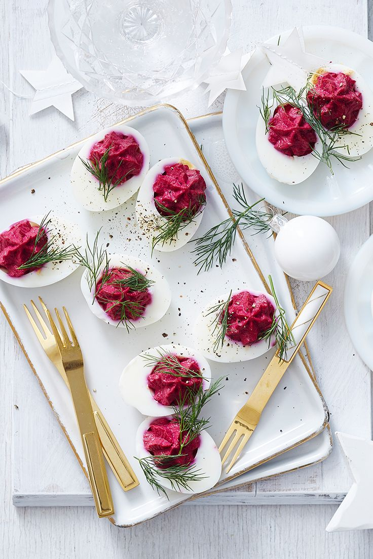 Go retro at your next party with this classic canape! The bright beetroot filling is sure to turn heads.