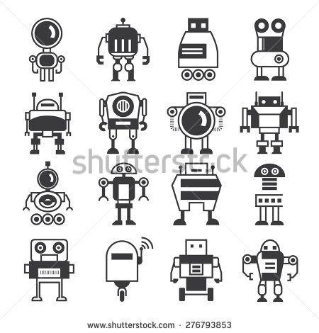 robot icons, cartoon robots
