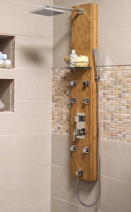 ¿Una ducha relajante? Date el gusto con la columna ducha 6 jet Bambú #Homecenter #Relax #baño #ducha