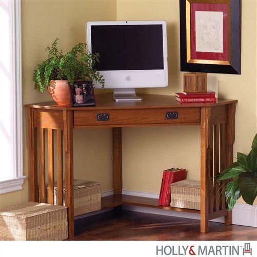 Compact Mission Corner Computer Desk in Oak with Keyboard Tray – SJS