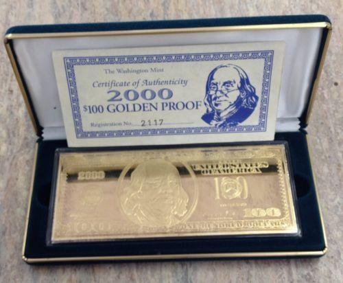 2000 Franklin $100 Golden Proof Bar 4 Troy oz 999 Fine Silver Bill Bar | eBay