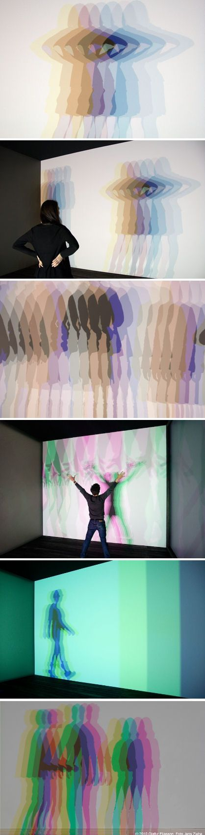 Olafur Eliasson, Multiple shadow house, 2010. When a body enters the space and begins to interact with the light installation