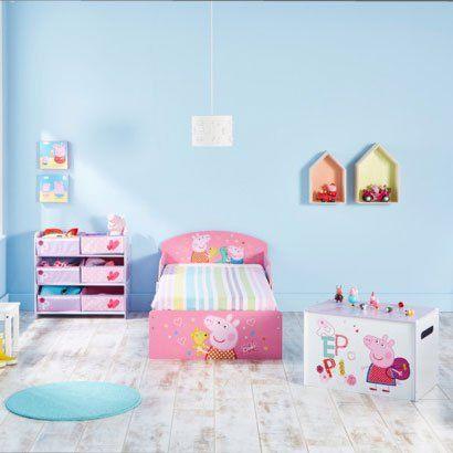 Świnka PEPPA - ulubienica dziewczynek :) Śliczne różowe łóżko 140x70, do tego skrzynia i regał na zabawki - i bajkowy pokój gotowy!