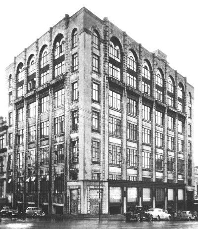 Smith & Caughey's Queen Street corner view with added floors designed by architect Roy Lippincott
