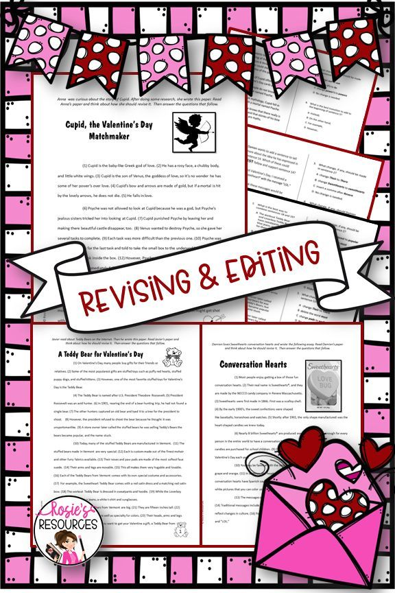 Valentine S Day Revising And Editing Fourth Grade 4th