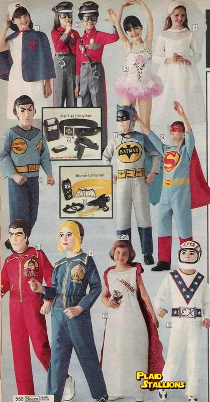 vintage halloween costumes 1970s..I hated those plastic masks with little nose holes and the elastic band that broke the first time you put it on.