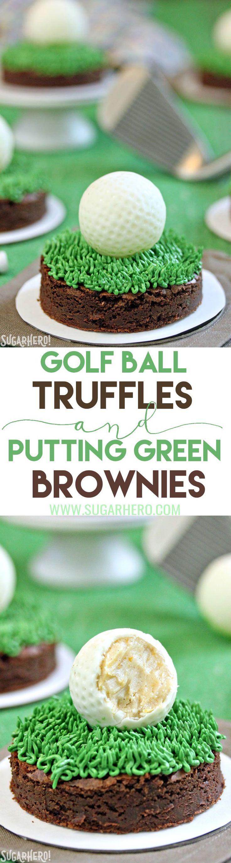 "Golf Ball Truffles and Putting Green Brownies - white chocolate rum truffles that look just like golf balls! Put them on ""putting green"" brownies to make the cutest dessert ever. | From SugarHero.com"
