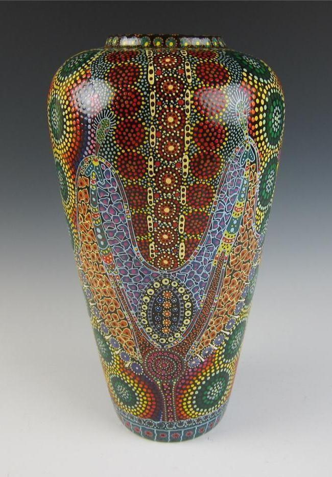 Keringke Kathleen Wallace Aboriginal Art Large Pottery Vase Australia Aborigine Ebay Sort