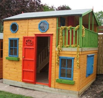 17 best images about kids playhouses on pinterest for Wooden wendy house ideas
