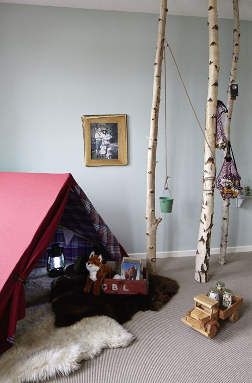 A perfect play area for a little guy. Imagine the hours of 'camping, fishing and alone time' he will have...