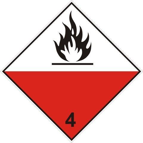 Naklejka Materiały samozapalne. Oznaczenie stosowane w transporcie materiałów samozapalnych określonych w klasie 4 Umowy ADR.