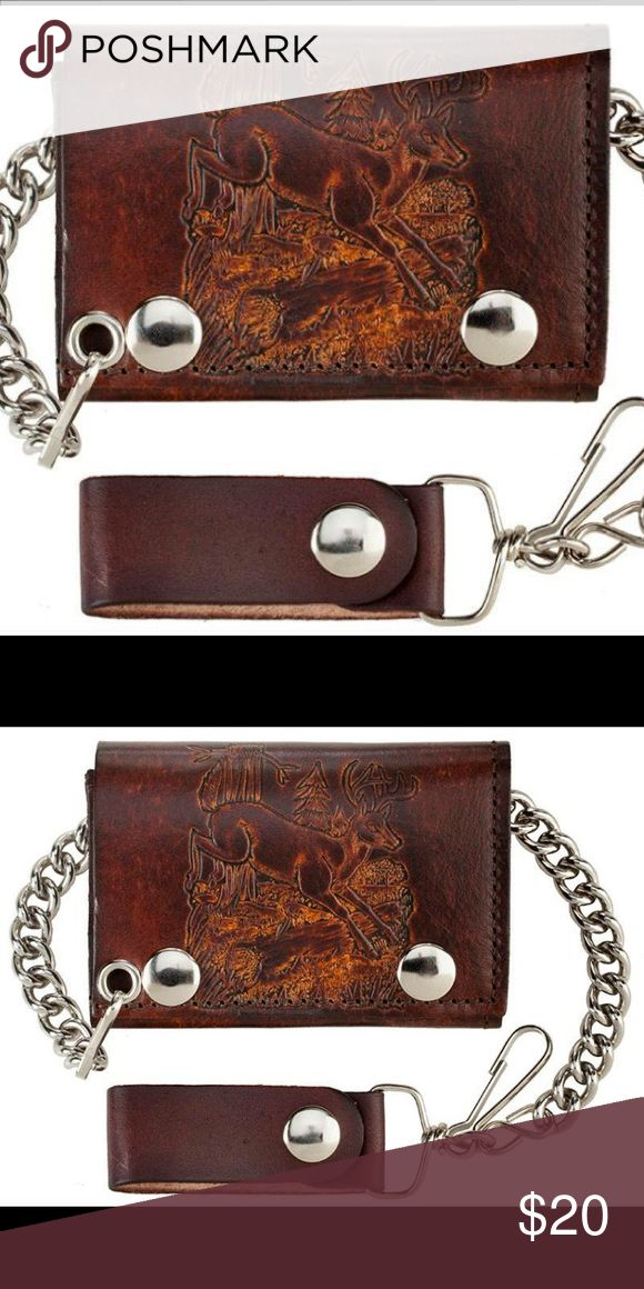 """Deer Leather Wallet with chain This is brand new Deer leather wallet with chain it measures 4"""" x 2 3/4"""" Bags Wallets"""