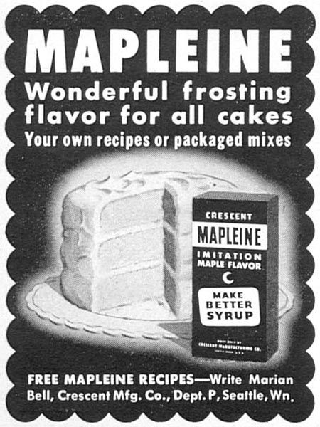 mapleine imitation maple flavor woman's day 02/01/1954 p 160  mom used to use this to make