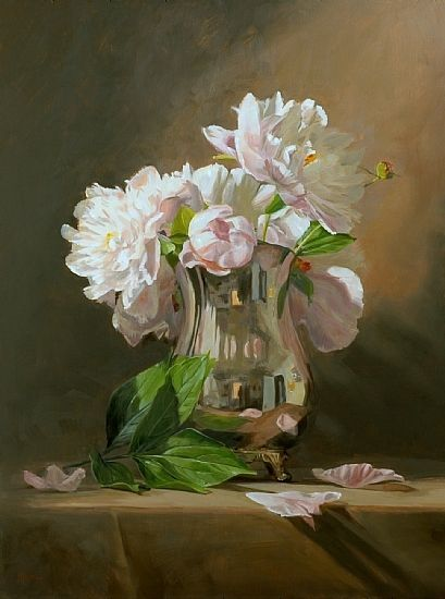 Peonies in a silver pitcher by Sandra Corpora Oil ~ 24 x 18