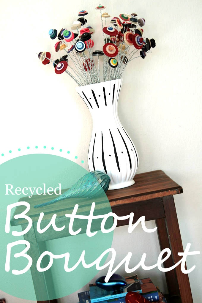 Recycled button bouquet with tutorial