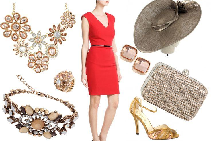 look personalizado para una lectora del blog, en rojo y dorados brillantes, para una boda de día.