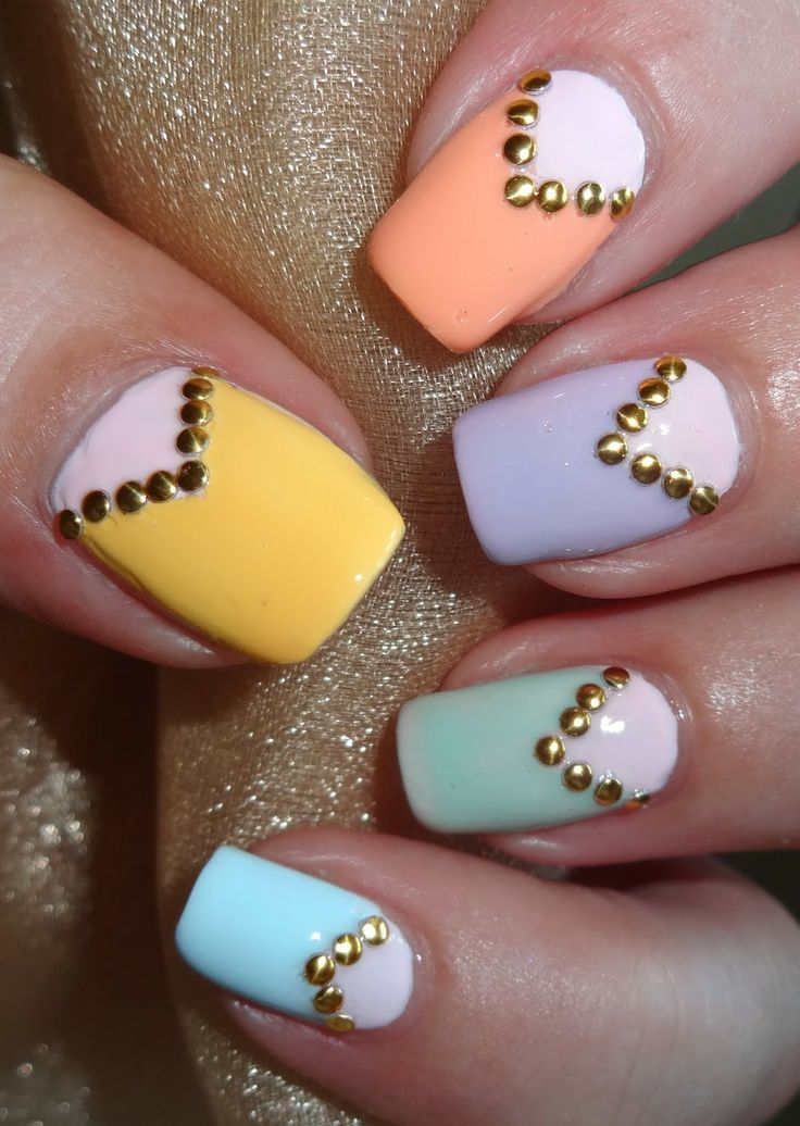 Wendy's Delights: Sparkly Nails Gold Round Nail Studs @Slim Blondie-Nails.co.uk