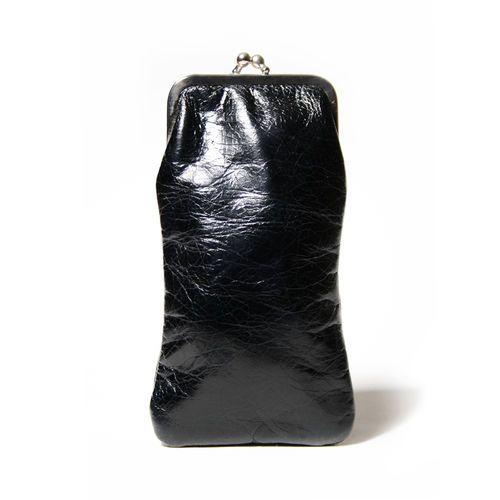 """Brillenetui """"Minet Crunch Black"""" von Cellarrich - 9 x 17 x 1 cm - Leder"""